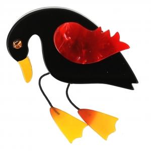 broche oiseau twisty noir rouge jaune