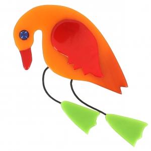 broche oiseau twisty orange rouge pistache
