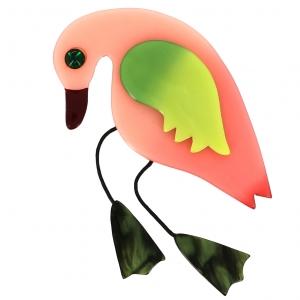 broche oiseau twisty pistache rose vert marbre