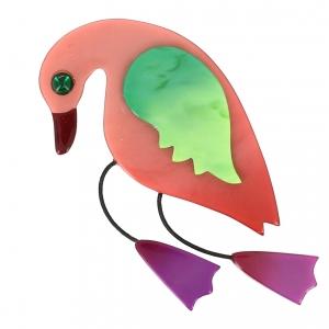 broche oiseau twisty rose vert fuchsine