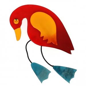 broche oiseau twisty rouge jaune turquoise