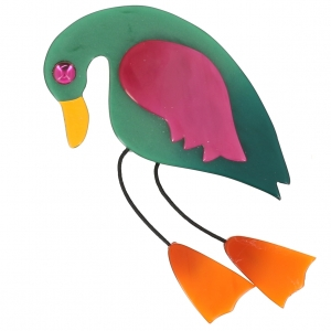 broche oiseau twisty vert fuchsia orange