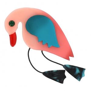 broche oiseau wisty rose pale tusquoise