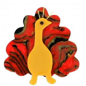 broche paon jaune rouge motifs 1