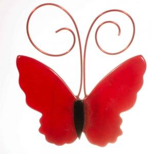 broche papillon petit rouge