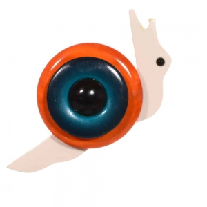 broche petit escargot orange et turquoise