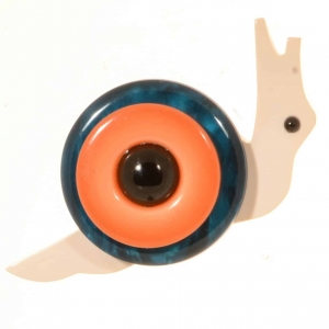 broche petit escargot turquoise et orange