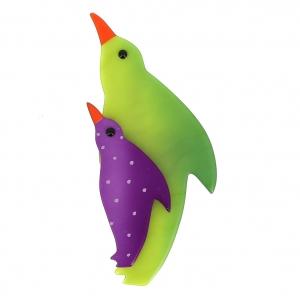 broche pingouin anis violet pois