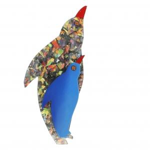 broche pingouin bleu brillant et bleu