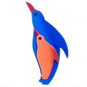 broche pingouin bleu et orange