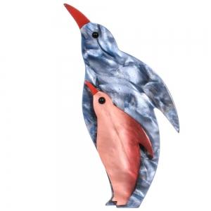broche pingouin bleu gris rose