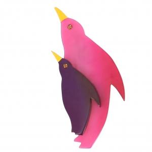 broche pingouin fuchsia violet