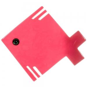 broche poisson carre rose