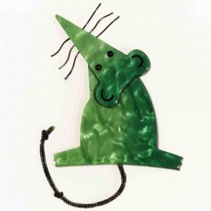 broche rat vert
