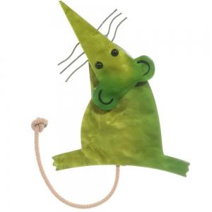broche rat vert mousse