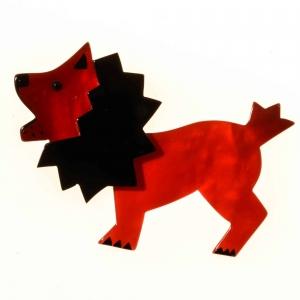broche roi lion rouge