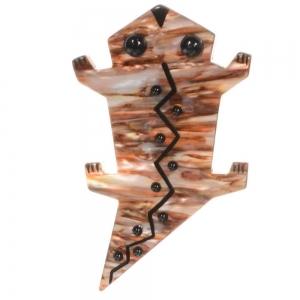 broche salamandre beige