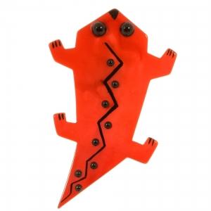 broche salamandre rouge
