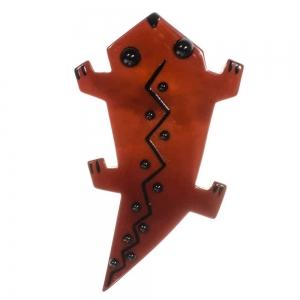 broche salamandre roux