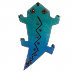 broche salamandre turquoise
