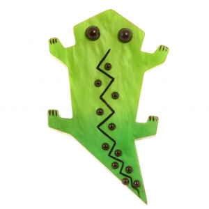 broche salamandre verte