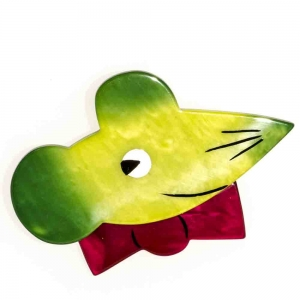 broche souris papillon vert