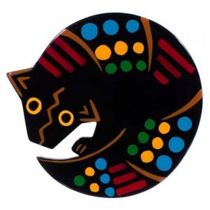 broche tatou noir multicolore