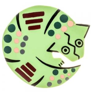 broche tatou vert