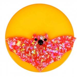broche vampire lune rouge brillant et jaune