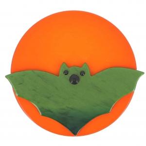 broche vampire lune vert et orange