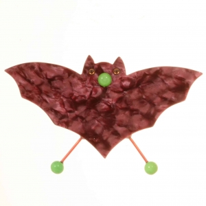 broche vampire rose fonce
