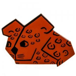 broches hors séries souris rectangle orange leopard