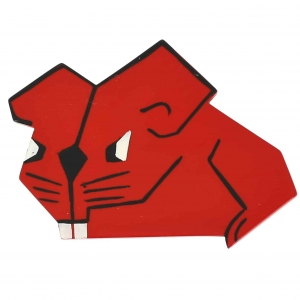 broches hors séries souris rectangle rouge