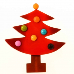 broches noël sapin boules rouge
