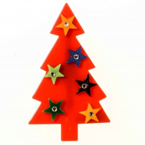 broches noël sapin etoiles rouge