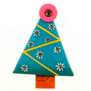 broches noël sapin flocons turquoise