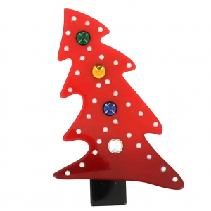 broches noël sapin neige rouge