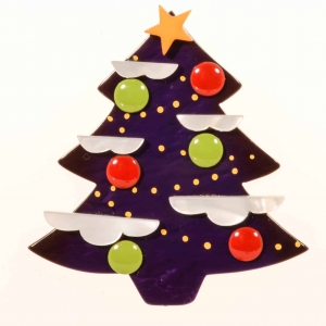 broches noël sapin nuage violet
