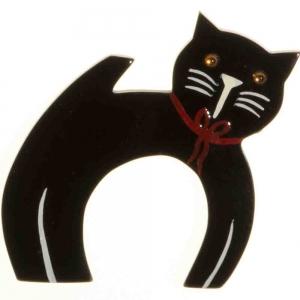 broche chat ficelle noir