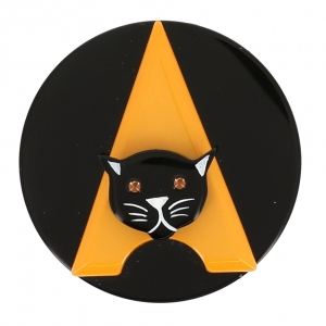 broche chat paris jaune