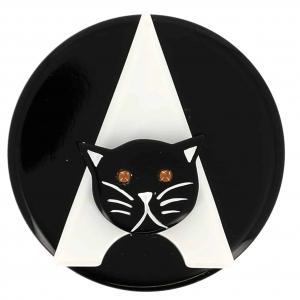 broche chat paris noir et blanc