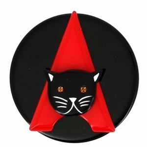 broche chat paris noir et rouge