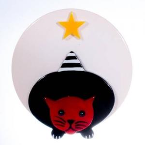 broche chat star blanc