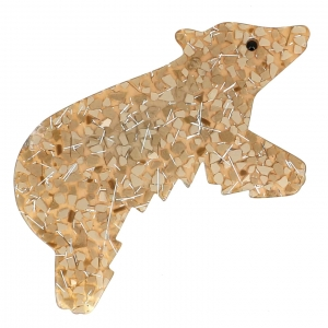 broche ours canada beige paillettes