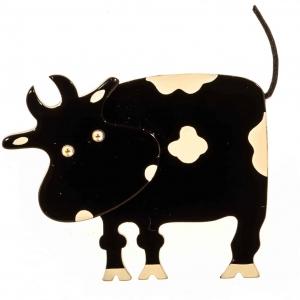 broche vache profil noire