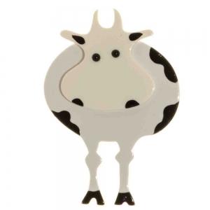broche vache ronde blanc