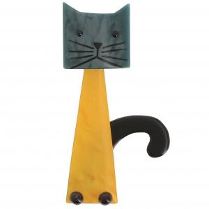 broche chat cafetière jaune acier