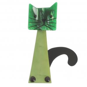 broche chat cafetière vert vert flamme
