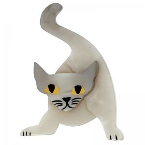 broche chat mephisto blanc