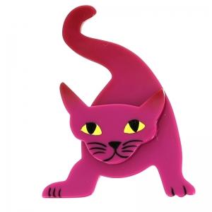 broche chat mephisto fuchsine